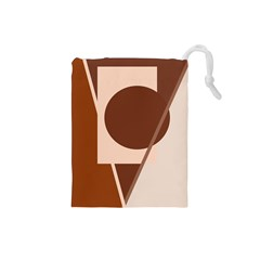 Brown Geometric Design Drawstring Pouches (small)  by Valentinaart
