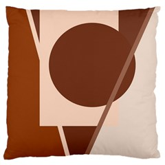 Brown Geometric Design Large Flano Cushion Case (one Side) by Valentinaart