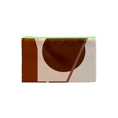 Brown Geometric Design Cosmetic Bag (xs) by Valentinaart