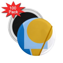 Blue And Yellow Abstract Design 2 25  Magnets (100 Pack)  by Valentinaart