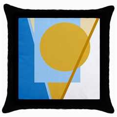 Blue And Yellow Abstract Design Throw Pillow Case (black) by Valentinaart