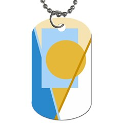 Blue And Yellow Abstract Design Dog Tag (one Side) by Valentinaart