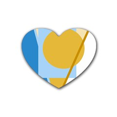 Blue And Yellow Abstract Design Rubber Coaster (heart)  by Valentinaart
