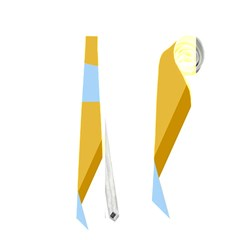 Blue And Yellow Abstract Design Neckties (one Side)  by Valentinaart