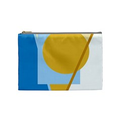Blue And Yellow Abstract Design Cosmetic Bag (medium)  by Valentinaart