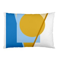 Blue And Yellow Abstract Design Pillow Case (two Sides) by Valentinaart