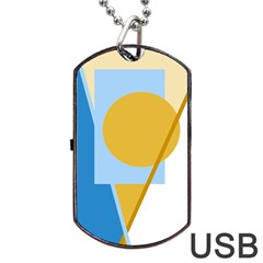 Blue And Yellow Abstract Design Dog Tag Usb Flash (one Side) by Valentinaart
