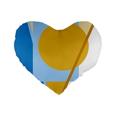 Blue And Yellow Abstract Design Standard 16  Premium Heart Shape Cushions by Valentinaart