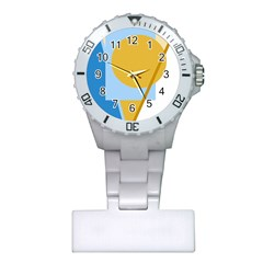 Blue And Yellow Abstract Design Plastic Nurses Watch by Valentinaart