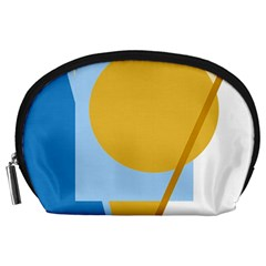 Blue And Yellow Abstract Design Accessory Pouches (large)  by Valentinaart