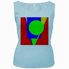 Colorful Geometric Design Women s Baby Blue Tank Top by Valentinaart