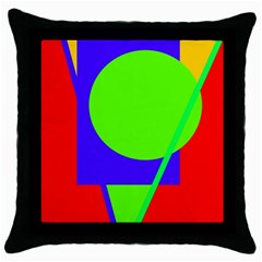Colorful Geometric Design Throw Pillow Case (black) by Valentinaart