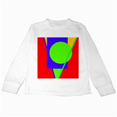 Colorful Geometric Design Kids Long Sleeve T Shirts by Valentinaart
