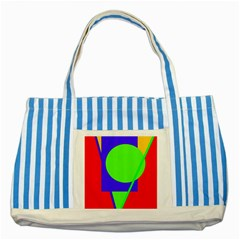 Colorful Geometric Design Striped Blue Tote Bag by Valentinaart