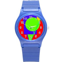 Colorful Geometric Design Round Plastic Sport Watch (s) by Valentinaart
