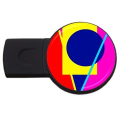 Colorful Geometric Design Usb Flash Drive Round (4 Gb)  by Valentinaart