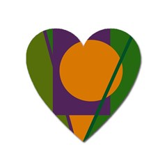 Green And Orange Geometric Design Heart Magnet by Valentinaart