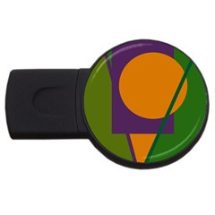 Green And Orange Geometric Design Usb Flash Drive Round (2 Gb)  by Valentinaart