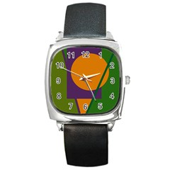 Green And Orange Geometric Design Square Metal Watch by Valentinaart
