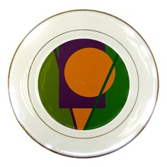 Green And Orange Geometric Design Porcelain Plates by Valentinaart