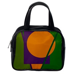 Green And Orange Geometric Design Classic Handbags (one Side) by Valentinaart
