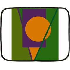 Green And Orange Geometric Design Double Sided Fleece Blanket (mini)  by Valentinaart
