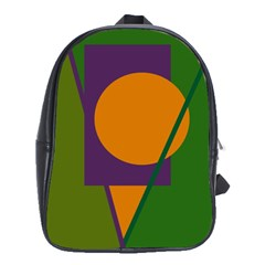 Green And Orange Geometric Design School Bags(large)  by Valentinaart