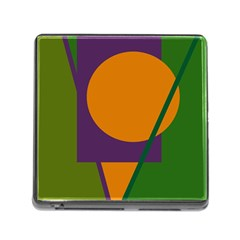 Green And Orange Geometric Design Memory Card Reader (square) by Valentinaart