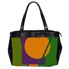 Green And Orange Geometric Design Office Handbags (2 Sides)  by Valentinaart