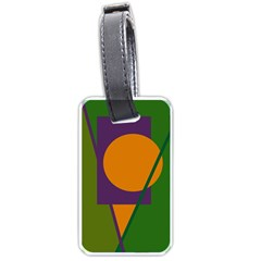 Green And Orange Geometric Design Luggage Tags (one Side)  by Valentinaart