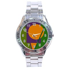 Green And Orange Geometric Design Stainless Steel Analogue Watch by Valentinaart