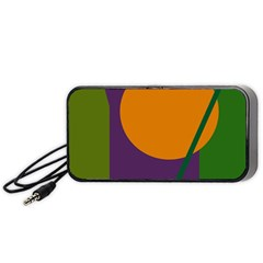 Green And Orange Geometric Design Portable Speaker (black)  by Valentinaart