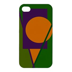 Green And Orange Geometric Design Apple Iphone 4/4s Premium Hardshell Case by Valentinaart