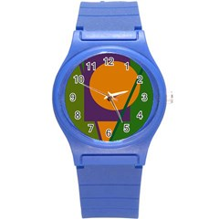 Green And Orange Geometric Design Round Plastic Sport Watch (s) by Valentinaart