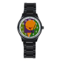 Green And Orange Geometric Design Stainless Steel Round Watch by Valentinaart