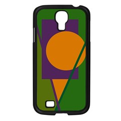 Green And Orange Geometric Design Samsung Galaxy S4 I9500/ I9505 Case (black) by Valentinaart