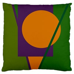 Green And Orange Geometric Design Standard Flano Cushion Case (two Sides) by Valentinaart