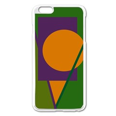 Green And Orange Geometric Design Apple Iphone 6 Plus/6s Plus Enamel White Case by Valentinaart