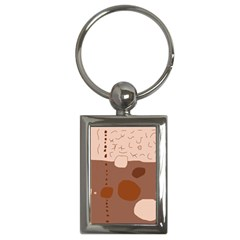 Brown Abstract Design Key Chains (rectangle)  by Valentinaart