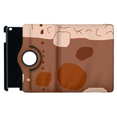 Brown Abstract Design Apple Ipad 2 Flip 360 Case by Valentinaart