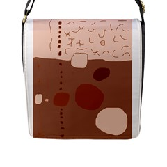 Brown Abstract Design Flap Messenger Bag (l)  by Valentinaart