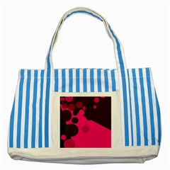 Pink Dots Striped Blue Tote Bag by Valentinaart
