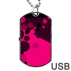 Pink Dots Dog Tag Usb Flash (one Side) by Valentinaart