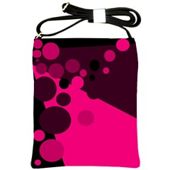 Pink Dots Shoulder Sling Bags by Valentinaart