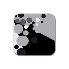 Gray Decorative Dots Rubber Coaster (square)  by Valentinaart