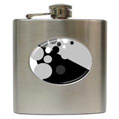 Gray Decorative Dots Hip Flask (6 Oz) by Valentinaart
