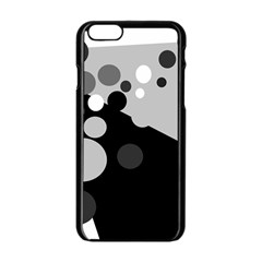 Gray Decorative Dots Apple Iphone 6/6s Black Enamel Case by Valentinaart