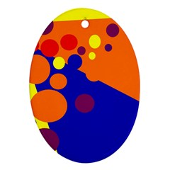 Blue And Orange Dots Ornament (oval)  by Valentinaart