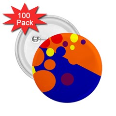 Blue And Orange Dots 2 25  Buttons (100 Pack)  by Valentinaart