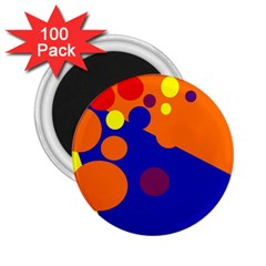 Blue And Orange Dots 2 25  Magnets (100 Pack)  by Valentinaart